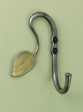 Hand-Forged Recycled Steel Leaf Hook eclectic hooks and hangers