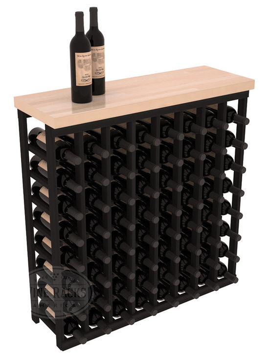 "Wine Racks America - Tasting Table Wine Rack Kit with Butcher Block Top in Redwood, Black Stain - The quintessential wine cellar bar; this wooden wine rack is a perfect way to create discrete wine storage in shallow areas. Includes a 35"" Butcher Block Top that helps you create an intimate tasting table. We build this rack to our industry leading standards and your satisfaction is guaranteed."