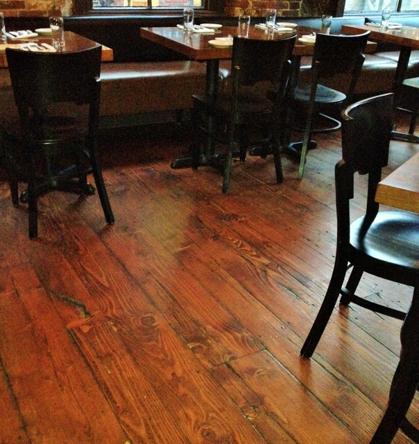 Antique douglas fir at vignola 39 s restaurant portland for Reclaimed wood portland or