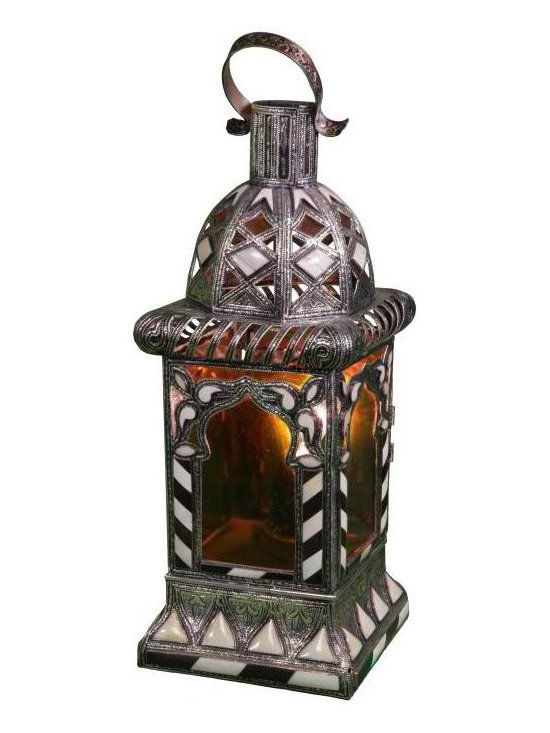 Hand-Crafted Moroccan Amber Glass Lantern - High quality, hand crafted and stylized Moroccan lanter that requires a great dexterity and precision, using a combination of engraved Berber metal, Iraqi glass and inlaid camel bone Berber designs.
