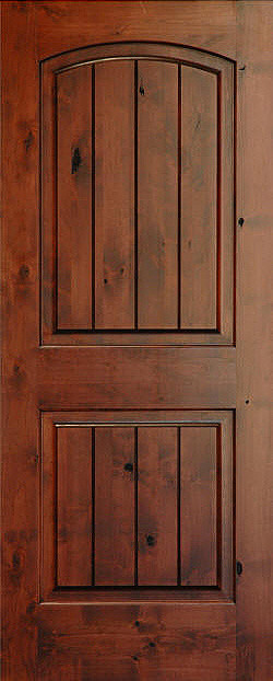 Rustic arch 2 panel v grooved knotty alder wood door for Knotty alder wood doors