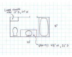 Need help with 5 39 x 10 39 bathroom makeover for Bathroom design 4 x 6