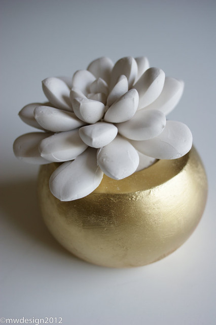 White Modern Succulent Sculpture by Waterstone Succulents contemporary-plants
