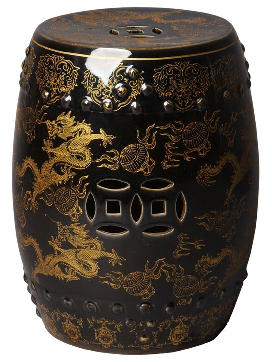 Black & Gold Garden Stool - Exotic and ornate, this stool is the ultimate in gorgeous style and design. With its intricate detail work in luxurious gold, this stool is perfect for showing off in a den, patio or as an unexpected, but super clever, bedside table.