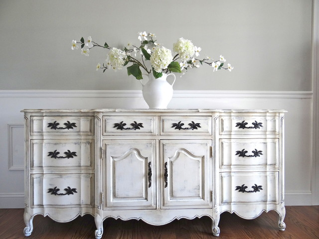 Vintage Hand Painted Antique White French Provincial Buffet Sideboard Cabinet - Traditional ...