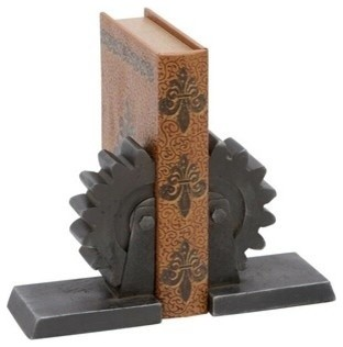 "Library Metal Bookend Pair 10""W, 7""H transitional-bookends"