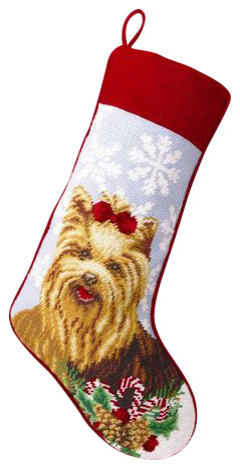 Yorkie Needle Point Stocking traditional-holiday-decorations