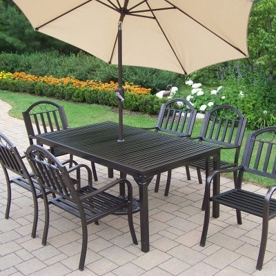 Oakland Living Rochester Patio Dining Set - Seats 6 modern-dining-tables