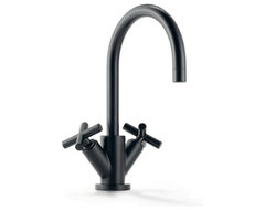 Tara Black Single-Hole Basin Mixer contemporary kitchen faucets