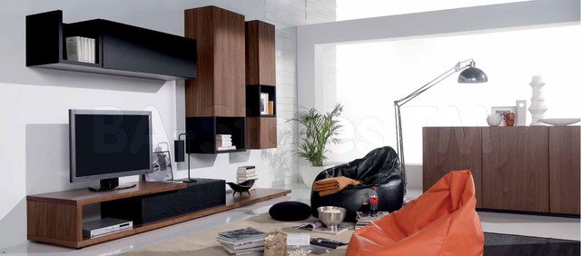 Walnut/Graphite Oak Composition 3 Wall Unit - modern - media ...