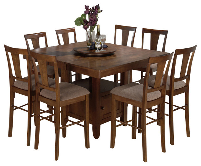 oak 9 piece butterfly leaf counter height set traditional dining sets