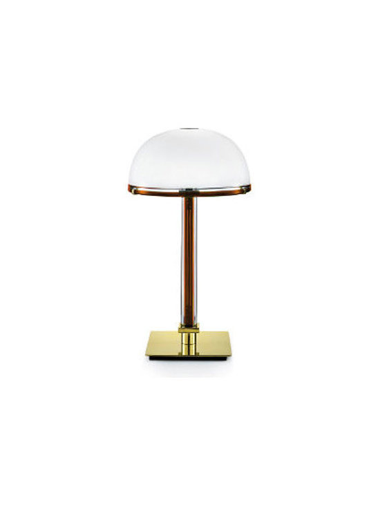 Venini - Belboi Table Lamp - Belboi Table Lamp features a Milk White shade and Crystal stem with Sapphire, Red, Tea, or Wisteria inside. The color in the stem is also wrapped around the top of the diffuser. Base is in brass, except for Wisteria which is in Chrome. One 60 watt, 120 volt B10 type candelabra base incandescent bulb is required, but not included. 11.82 inch width x 21.26 inch height.