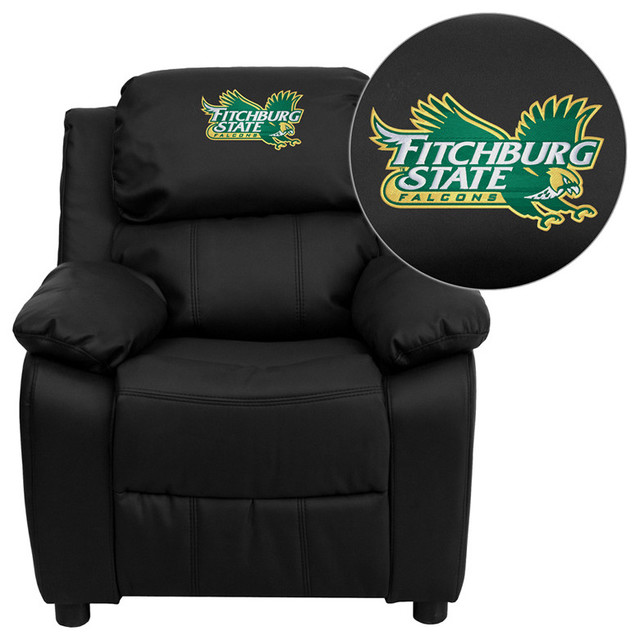 Fitchburg State University Falcons Embroidered Black Leather Kids Recliner contemporary-kids-chairs
