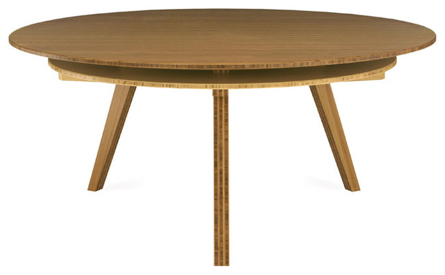 Round table amber natural bamboo 6 person modern dining tables