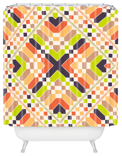 Budi Kwan Retrographic Picnic Shower Curtain contemporary-shower-curtains