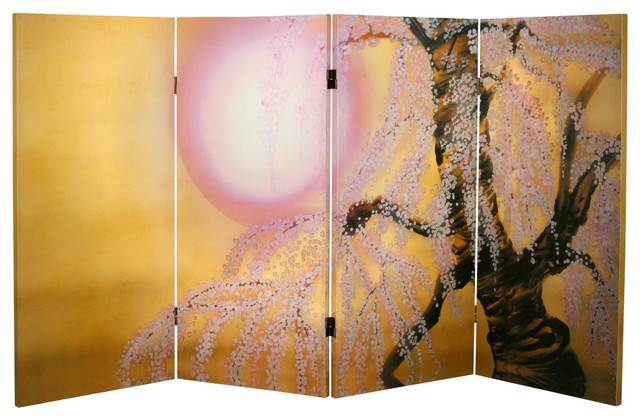 3 ft. Tall Double Sided Sakura Blossoms Canvas Room Divider asian-screens-and-room-dividers