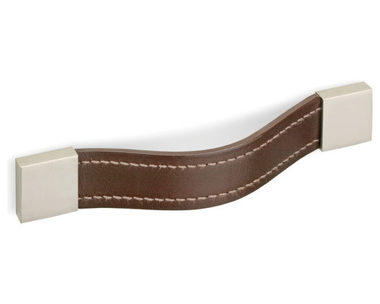 Leather Strap Pull with Square Caps - DP424 - Smooth leather strap with complementary exterior stitching gives a universally classy look on all furniture. Finished metal posts provide a stunning contrast with the leather strap handle. A modest design, but one that is sure to garner attention and complement the overall aesthetic of the design. Strong, sturdy leather suitable for any size drawer surface. Screws included.