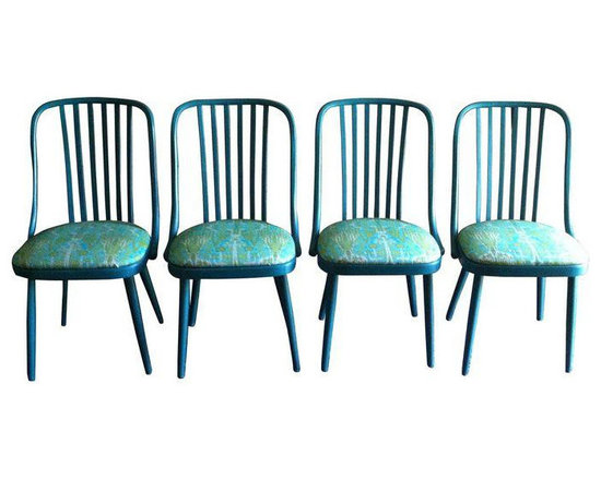 Vintage Turquoise Dining Chairs - Set of 4 - Dimensions 17.0ʺW × 18.0ʺD × 35.0ʺH