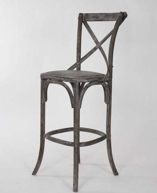 Classic Barstools Enhance This Traditional Kitchen: Zentique Parisienne Cafe Bar Stool In Limed Charcoal Oak
