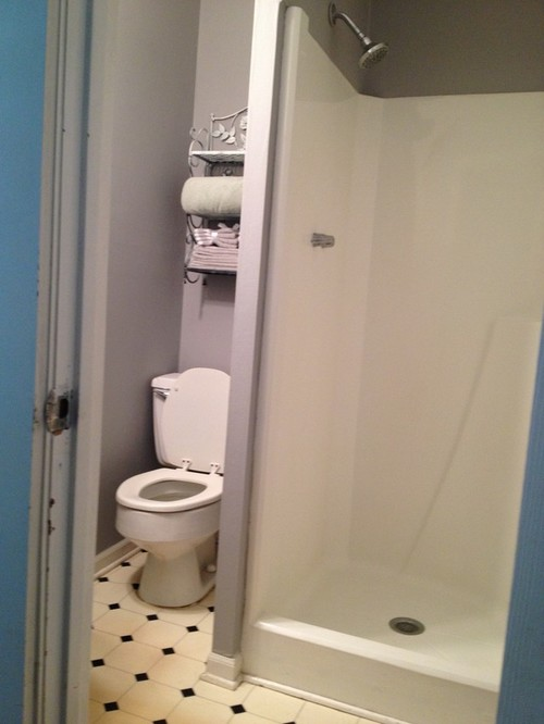 Reveal tiny bathroom turned into powder room for Bathroom design 5x6