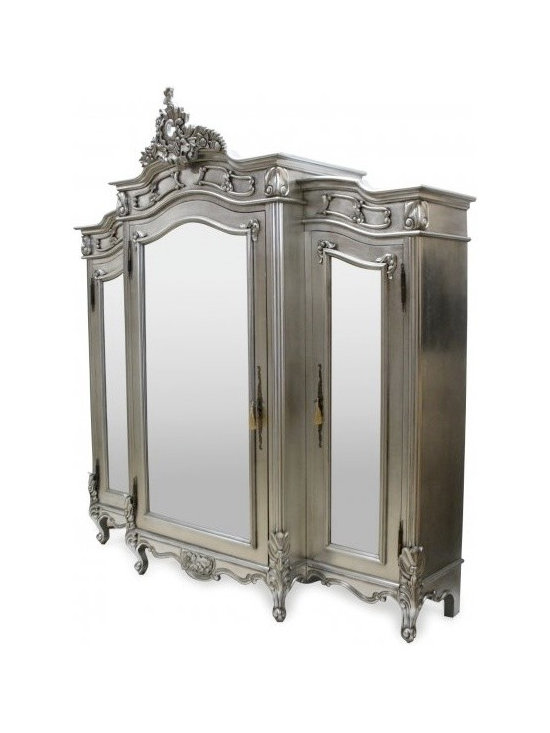 Chichi Furniture Exclusives. - A beautiful French Style wardrobe boasting elaborate carvings on the extremely solid Silver coloured frame.