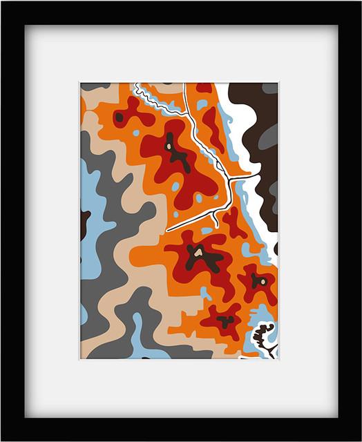 Cartoloji Archival Mat Chicago Framed Print contemporary-artwork