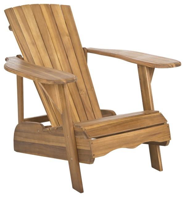 Safavieh Outdoor Living Mopani Adirondack Natural Acacia Wood Chair Contemp
