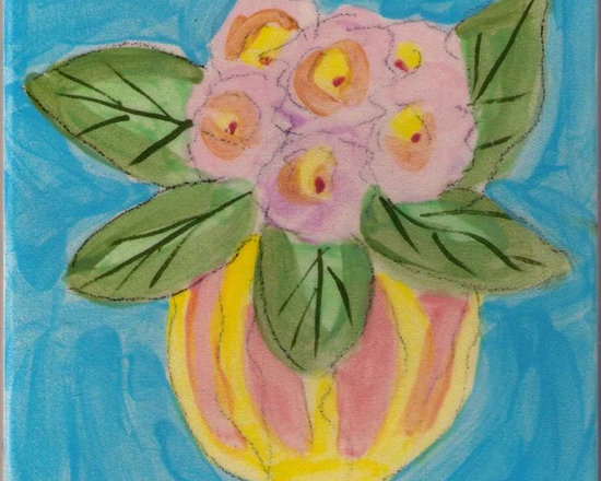 """Annette Kearney - Horizontal strip of 22 6"""" tiles of vases with flowers, plants in vases and vases.....all with varied background  in soft colors."""