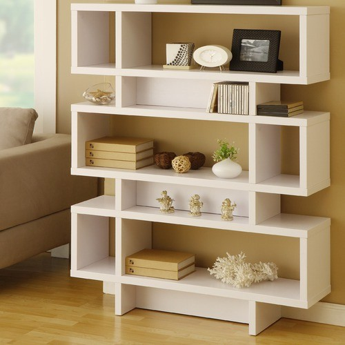 Celio Three-Tier Bookcase / Display Cabinet in Matte White modern bookcases cabinets and computer armoires