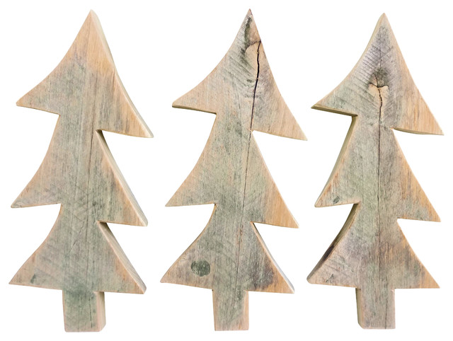 Whimsical Barn Wood Christmas Trees, Set of 3 rustic-christmas-decorations