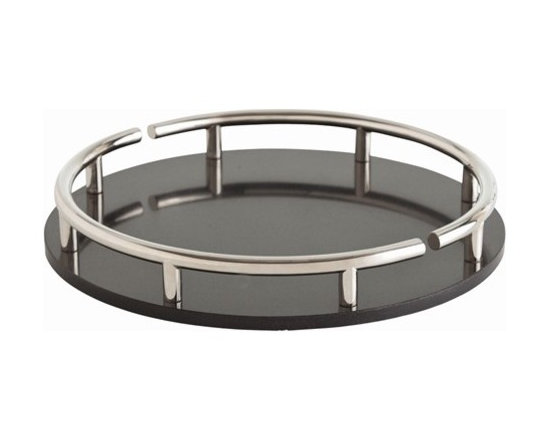 Arteriors Warsaw Black Marble/Polished Nickel Round Tray - Warsaw Black Marble/Polished Nickel Round Tray
