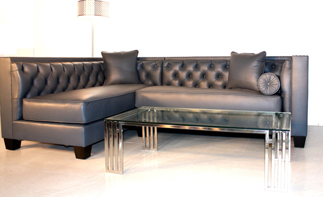 Decenni Tobias Leather Sectional For Ny Client Traditional Los Angeles By Decenni Custom