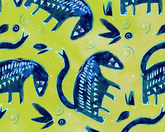 Midnight Wonderbeast Chartreuse Designer Fabric - Whimsical Midnight beasts, leaves, dots and swirls on tone on tone to mix & match. Perfect for tabletop, bedding, curtains, children's and more
