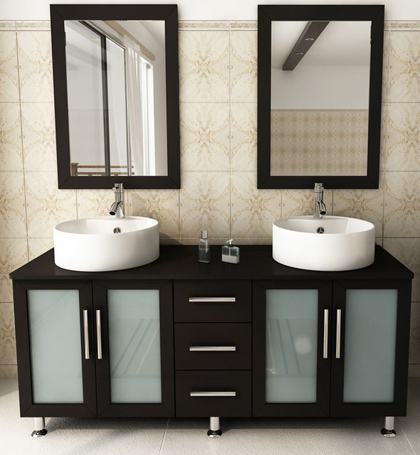 "59"" Double Lune Vanity With White Top modern-bathroom-vanities-and-sink-consoles"