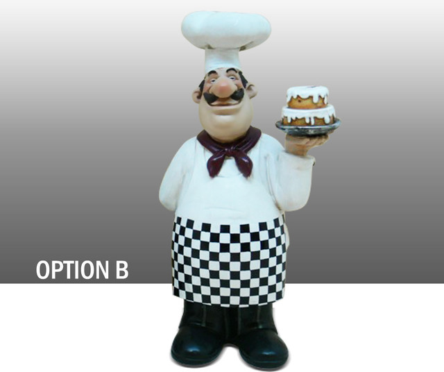 Fat chef kitchen decoration holding cake table art statue