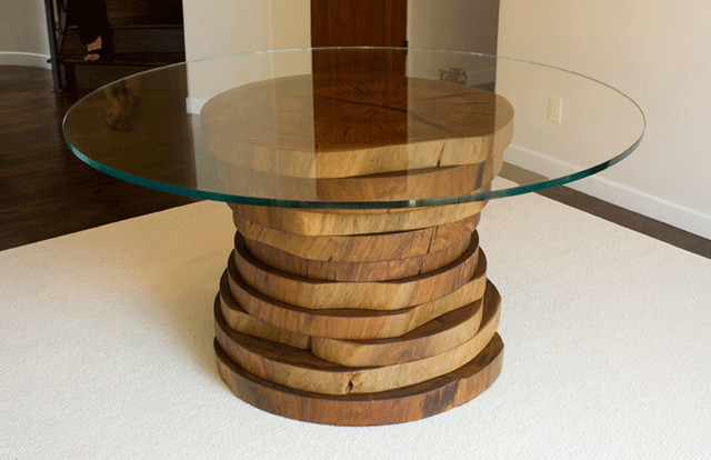 Blue Gum Eucalyptus Round Dining Table  Contemporary  Dining Tables