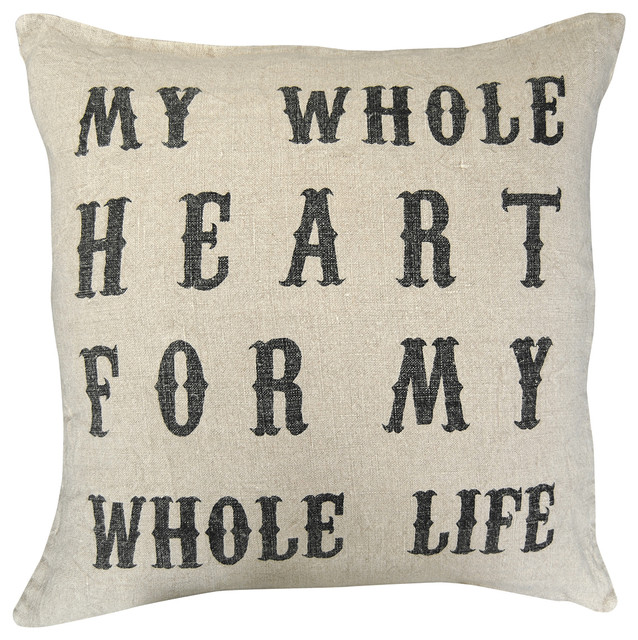 My Whole Heart' Vintage Type Linen Down Throw Pillow transitional-decorative-pillows