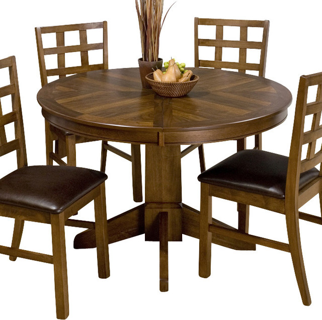 Jofran 737 wenatchee falls walnut round butterfly leaf for Round table with butterfly leaf