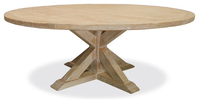 Seth Recycled Wooden Round Dining Table White 72