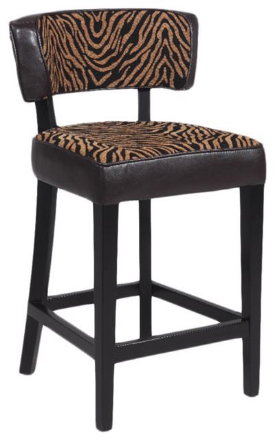 Brown Zebra Print Leather 3-inch Stationary Solid Birch Bar Stool ...