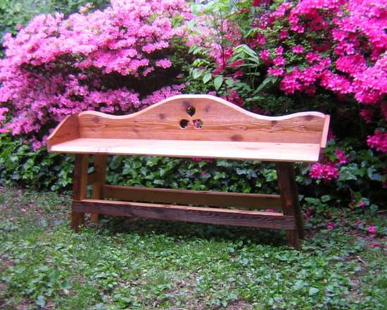 """Accessories, furniture pieces, etc. - The triquetra is the oldest symbol describing """"the father, the son, the holy ghost"""". This bench is finished in tongue oil, easily touched up or refinished, odorless and a great sealer."""