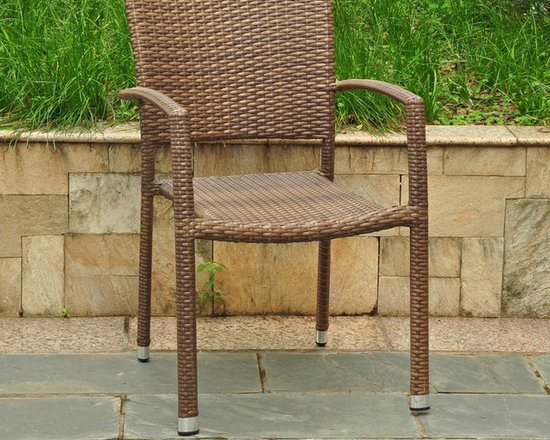 International Caravan - International Caravan Barcelona Resin Wicker/Aluminum Outdoor Dining Chairs (Set - Furnish your patio in style with this set of two outdoor dining chairs. Crafted of weather-resistant resin and aluminum and featuring an attractive wicker weave design,these chairs are built to provide you with years of durable beauty.