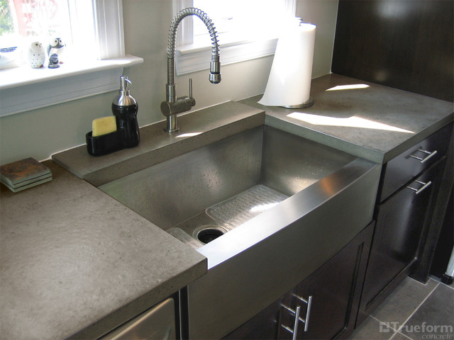Custom taupe concrete countertop contemporary kitchen new york by trueform concrete - Witte quartz werkblad ...