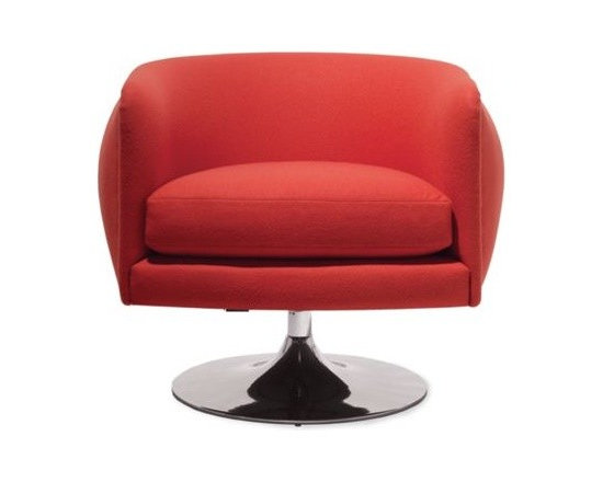 "Knoll - D'Urso Swivel Lounge - Whether designing interiors for residential homes, creating retail showrooms for Calvin Klein and Esprit, or developing furniture collections for Knoll, Joe D'Urso delivers elegant, livable solutions. Even the industrial ""high tech"" loft movement that he pioneered in the 1970s was about functional, comfortable living (albeit a bit stark compared with how D'Urso uses color these days). His D'Urso Collection (2008) for Knoll is an example of the warmer, more colorful Joe. Whether designing a room or an armchair, D'Urso always designs on a human scale. Made in U.S.A."