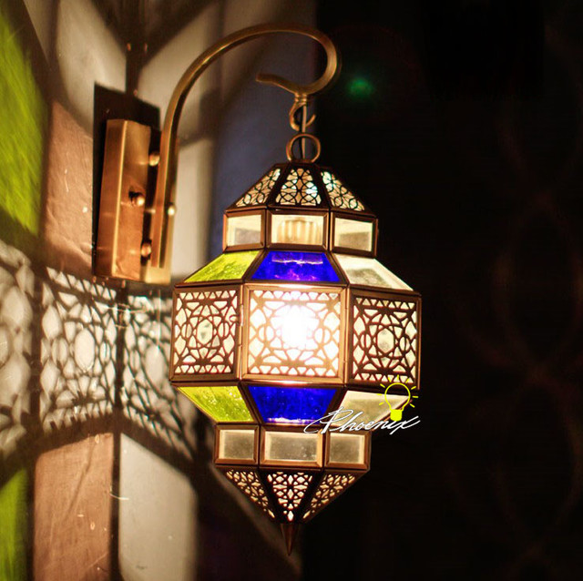 Moroccan Glass Wall Lights : Morocco Clorful Glass and Copper Wall Sconce in Copper Finish - Contemporary - new york - by ...
