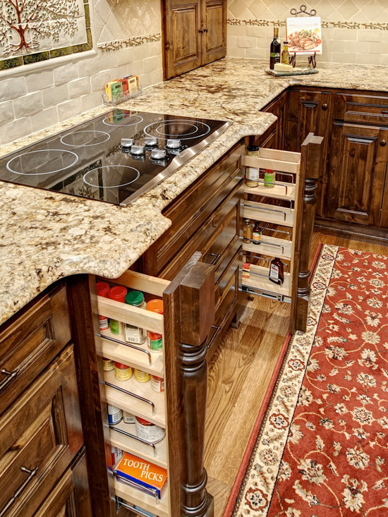 Custom Cabinets - Custom Spice Pull-Outs with integrated island legs