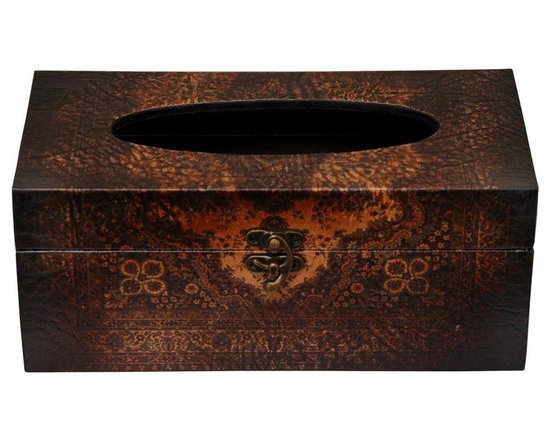Oriental Furniture - Olde-Worlde European Tissue Box - Tissue box covers are a great way to keep Kleenex in the living room, bedroom, dining room or office, without turning that room into a bathroom. These covers, with beautiful, faux leather printed designs turn a box of tissue into a lovely decorative accent, great for a desk, nightstand, or end table. Putting a nice quality cover on the box does add to the decor of the room, and doesn't require much, except a sense of good taste.
