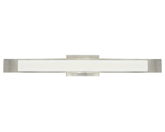 Dover Bath Bar by LBL Lighting - Dover bath bar features an opal glass diffuser. Fixture can be mounted vertically or horizontally. Fluorescent lamping options available. Finish available in bronze, polished chrome, or satin nickel. Five 40 watt, 120 volt, T4 G9 lamps, included. ETL listed. ADA compliant.