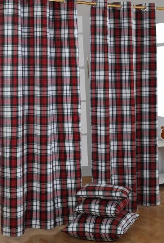 Macduff Tartan Check Ready Made Curtain - Modern - Curtains - other metro - by Homescapes Europa Ltd
