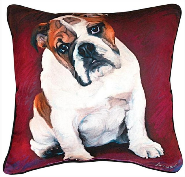 Pair of 'Bulldog Baby' Dog Print Throw Pillows 18 Inch contemporary-decorative-pillows